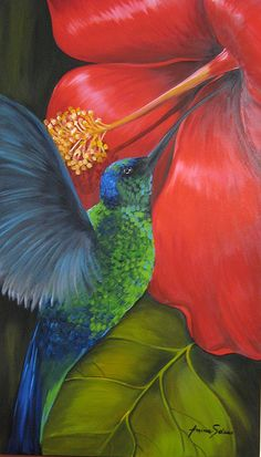 Hummer to paint Fabric Painting, Painting & Drawing, Watercolor Paintings, Art Sketches, Art Drawings, Tropical Art, Beautiful Birds, Painting Inspiration, Flower Art
