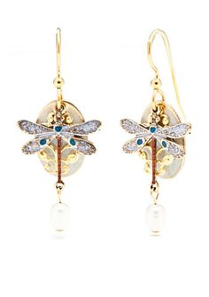 Silver Forest® Gold-Tone Dragonfly Pearl Drop Earrings