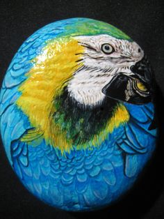 Hand Painted Stone / Rock Fine Art  Blue Parrot by MeloArtGallery, $59.00