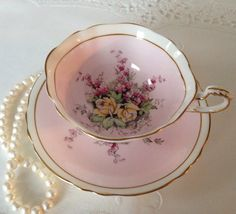 Vintage China Pink Paragon China Tea Cup and Saucer Teacup Set - Tea Cup Set, My Cup Of Tea, Tea Cup Saucer, Tea Sets, Vintage China, Vintage Tea, Teapots And Cups, Teacups, Cuppa Tea