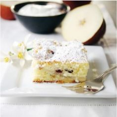 Dutch PearBerry Cake~ Moist and spongy cake with fruit that sinks to the bottom. Pears and cranberries make a perfect winter mix.