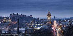 Dusk in Edinburgh, Scotland | © Curtis Budden curtisbuddenphotography.com Edinburgh Castle, Edinburgh Scotland, Dusk, Big Ben, New York Skyline, Cityscapes, Building, Castles, Travel