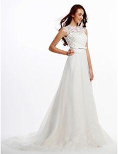 Lanting Bride® Trapèze Robe de Mariage  Traîne Tribunal Bijoux Dentelle / Organza avec Bouton / Dentelle