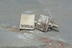 Personalized Binary Code Cufflinks, Techie Cufflinks Tech Cufflinks for Grads, Graduate Gift, Technical Gift, Gift for Techies, Geeky Gift by SilverSculptor on Etsy