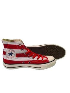 CONVERSE CHUCK TAYLOR ALL STAR FLAG PRINT VARSITY RED AND WHITE CANVAS HI TOP TRAINERS