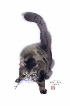 Watercolour by Japanese artist Yutaka Murakami (Murakami Yutaka 村上豊) Watercolor Cat, Watercolor Animals, Art Aquarelle, Oriental Cat, Illustration Art, Illustrations, Art Asiatique, Cat Sketch, Cat Drawing