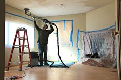 This customer rented a drywall sander from Home Depot to help them remove a popcorn ceiling and update their living room.