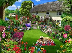 Quaint Country Cottage Poster Print by Gerald Newton Countryside Village, English Countryside, Nostalgic Art, Cottage Art, Background Pictures, 500 Piece Jigsaw Puzzles, Home Art, Beautiful Pictures, Decoration