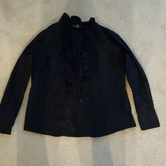 Black dress shirt with frills on front placket Black long sleeve cotton Dialogue size large shirt Dialogue Tops Button Down Shirts