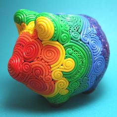 ♥ Colors of the Rainbow Pig Bank, Personalized Piggy Bank, Rainbow Connection, Polymer Clay Projects, Over The Rainbow, My Favorite Color, Rainbow Colors, All The Colors, Diy Crafts