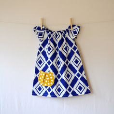 Ready to Ship SALE . Girls Peasant Dress . Blue by CorinneCitrolo, $24.00