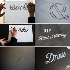 DIY Hand-Lettering Chalkboard Menu via @Ruffled | How to hand-letter on a chalkboard