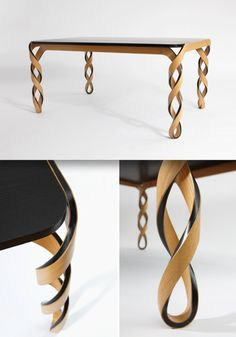 Watson Table by Paul Loebach — the result of controlled material experiments. Influenced by English furniture of the late 1600's, it features bold, structural legs that are reminiscent of open wood twisting. Made from a wood and carbon composite, the table utilizes the inherent rigidity of carbon as a structural core, creating a symbolic composition of maximum strength with minimal materials.