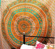 Add a colorful touch to your dorm space or apartment by hanging this cool elephant tapestry. This trippy tapestry is Handmade from 100% Cotton. The colors used in this wall hanging or mandala bedspread will match your bedroom decor. Shop this Bohemian tapestry at affordable price. Beautiful Dorm tapestry wall hangings is one of the gorgeous piece and from latest tapestry Collection for Bohemian