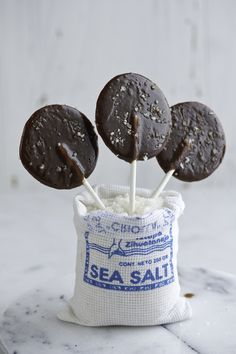 A childhood classic all grown up: Salted Chocolate Caramel Lollipops.
