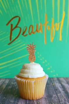 """Mini 1.25"""" GOLD Pineapple Cupcake Toppers. Pineapple Party. Pineapple Decor. Luau Party. Hawaiian Party. Beach Party. Flamingo"""