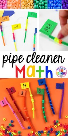 Pipe Cleaner Math - Counting, Making Patterns, and Addition Flags - Pocket of Preschool Math Activities For Kids, Preschool Centers, Counting Activities, Preschool Learning, Kindergarten Math, Math Centers, Learning Games, Motor Activities, Math Games