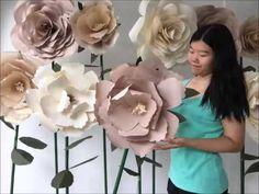 DIY Large Paper Flower, Paper flower stencil, paper flower backdrop, flower backdrop - YouTube
