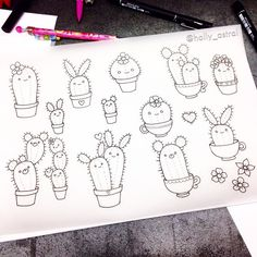 Ok, so I got a bit carried away drawing little cactus friends! Which one's your favourite?   @holly_astral's photo on Instagram