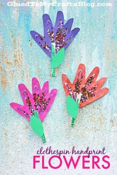 Clothespin Handprint Flowers - Spring Kid Craft Idea