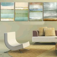 Canvas Wall Art Seascape 4 Panel Rectangle Painting Large Print Framed Unframed #Abstract #Four-Pannel #Seascape
