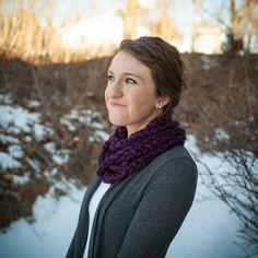 FREE SHIPPING- Chain crochet cowl, scarf, infinity scarf, snood, chunky knit, purple,  free shipping. $22.00, via Etsy.