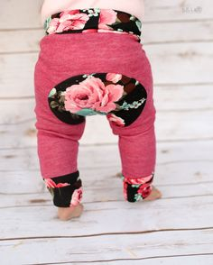 Grow With Me Pants Floral Baby Leggings Cloth by LilLizaJanes