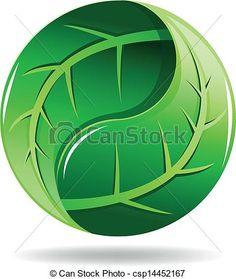 Yin Yang Logo Design | Vector - Yin Yang symbol in a leaf design - stock illustration ...