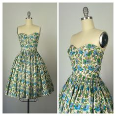 50s Floral Silk Dress / 1950s Vintage by CheshireVintageShop