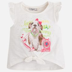 Camiseta niña manga volante bajo con nudo Lima
