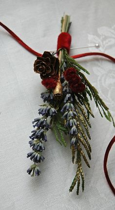 Winter Holiday Wedding Lavender Boutonniere