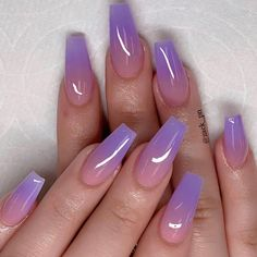 These fabulous nail art designs are super unique and glamorous, these will give you the trendy looks and give your nails a whole new edge to them. These designs below and next page include different shades like glitter pink, clear nails with etc. Fabulous Nails, Gorgeous Nails, Amazing Nails, Purple Ombre Nails, Purple Nails With Glitter, Gel Ombre Nails, Coffin Ombre Nails, Ombre Nail Art, Ombre Nail Colors
