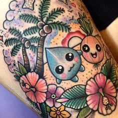 Tropical Kawaii Tattoo by Linnea Pecsenye @linneatattoos in Asheville, NC