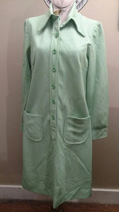 Vintage 60's Country Miss Green Gingham Plaid Dress Size M/L #CountryMiss #ShirtDress