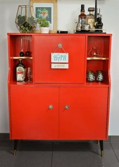 Red Cocktail Cabinet ~ Mary Wald's Place - upcycling furniture - g plan upcycled cocktail cabinet updated and painted red interior design Bar Furniture, Furniture Diy, Furniture Makeover, Retro Furniture, Trendy Furniture, Cool Furniture, Cabinet, Interior Design Diy, Cocktail Cabinet