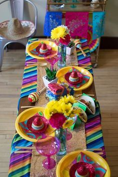 Celebrate Cinco de Mayo by creating your own fiesta party with these vibrantly-colored decorations and entertaining tips. Mexican Birthday Parties, Mexican Fiesta Party, Fiesta Theme Party, Taco Party, Party Themes, Party Ideas, Mexican Party Decorations, Quinceanera Party, Deco Table