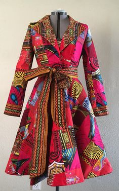 African Print Patchwork Red Coat Dress With Pockets Fully Lined Cotton This is a stylish. African Fashion Designers, African Inspired Fashion, African Print Fashion, Africa Fashion, Fashion Prints, African Print Dresses, African Fashion Dresses, African Dress, Fashion Outfits