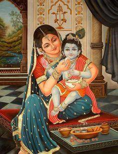 When you consider life as sacred, Nature waits on you.___ Photo: Krishna and his mother, Yashoda