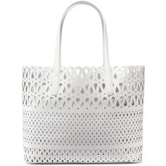 DKNY Perforated Leather Shopper ($348) ❤ liked on Polyvore featuring bags, handbags, tote bags, purses, white, leather tote bags, leather hand bags, shopping tote, white leather tote and perforated leather tote