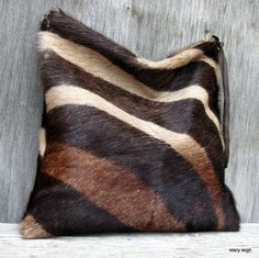 Hair On Cowhide Clutch in Brown Zebra Print Super Soft Fur by Stacy Leigh