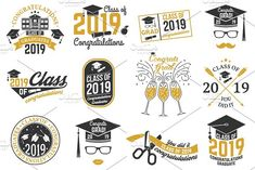 Vector Class of 2017 and 2018 badges Graphics Set of Vector Class of 2017 and 2018 badges. Concept for shirt, print, seal, overlay or stamp, greet by sivVector Typography Design, Logo Design, Graphic Design, Vector Design, Overlays, Cs6 Photoshop, Isometric Design, Class Of 2019, Badge Design