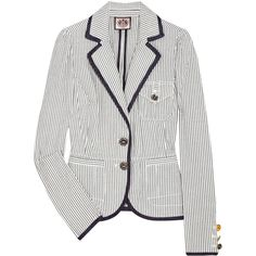 Juicy Couture Striped cotton-seersucker blazer ($190) found on Polyvore featuring women's fashion, outerwear, jackets, blazers, tops, women, navy blue blazer, stripe blazer, puff shoulder blazer and cotton blazer
