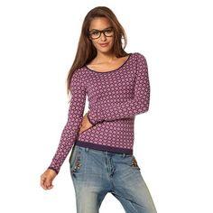 Pull col rond manches longues motif cravate femme AJC - Imprimé violet- Vue 1