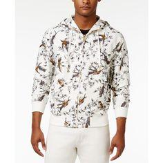 Sean John Men's Bird-Print Zip-Front Linen Hoodie ($48) ❤ liked on Polyvore featuring men's fashion, men's clothing, men's hoodies, sj cream, mens hoodie, mens sports hoodies, mens zip front hoodie, mens hooded sweatshirts and mens hoodies