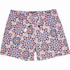 Pink tile print beach shorts £20.00