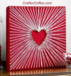 Love heart shaped sring art / Szerelmes szívecskés fali fonalkép / Mindy - creative craft ideas
