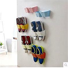 Smartlife 3PCS Home Shoe Shelf Wall-Mounted Sticky Hanging Shoe Holder Hook Shelf Rack Hanger Holder Storage Organiser