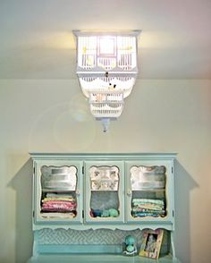 Birdcage chandelier, very cool... plus, paint my china cabinet blue like this??