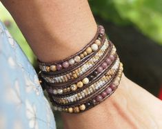 Chocolate brown stone mix Wrap bracelet Seed beaded от G2Fdesign