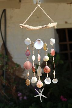 Diy Wind Chimes Best Of Driftwood Seashell Wind Chimes Handcrafted Wind Chimes Wind Chimes. Seashell Wind Chimes, Diy Wind Chimes, Seashell Art, Seashell Crafts, Beach Crafts, Seashell Mobile, Seashell Projects, Driftwood Crafts, Carillons Diy